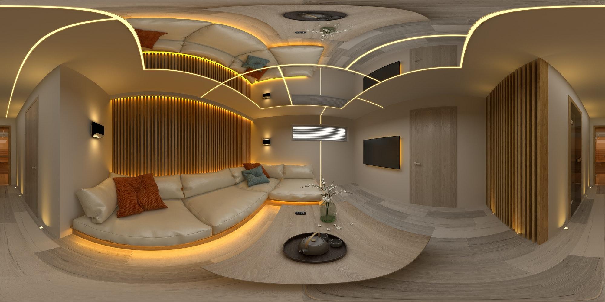 Spherical 360 seamless panorama projection Interior modern design room 3D illustration